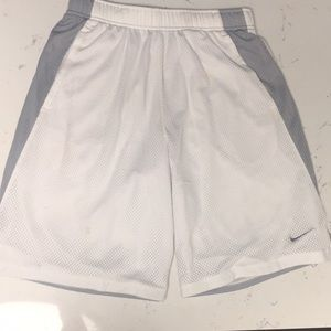 White/Grey Nike at the knee gym shorts